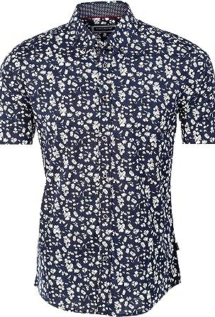 Carisma - Camisa de manga corta para hombre con estampado floral en varios modelos y cuello abotonado