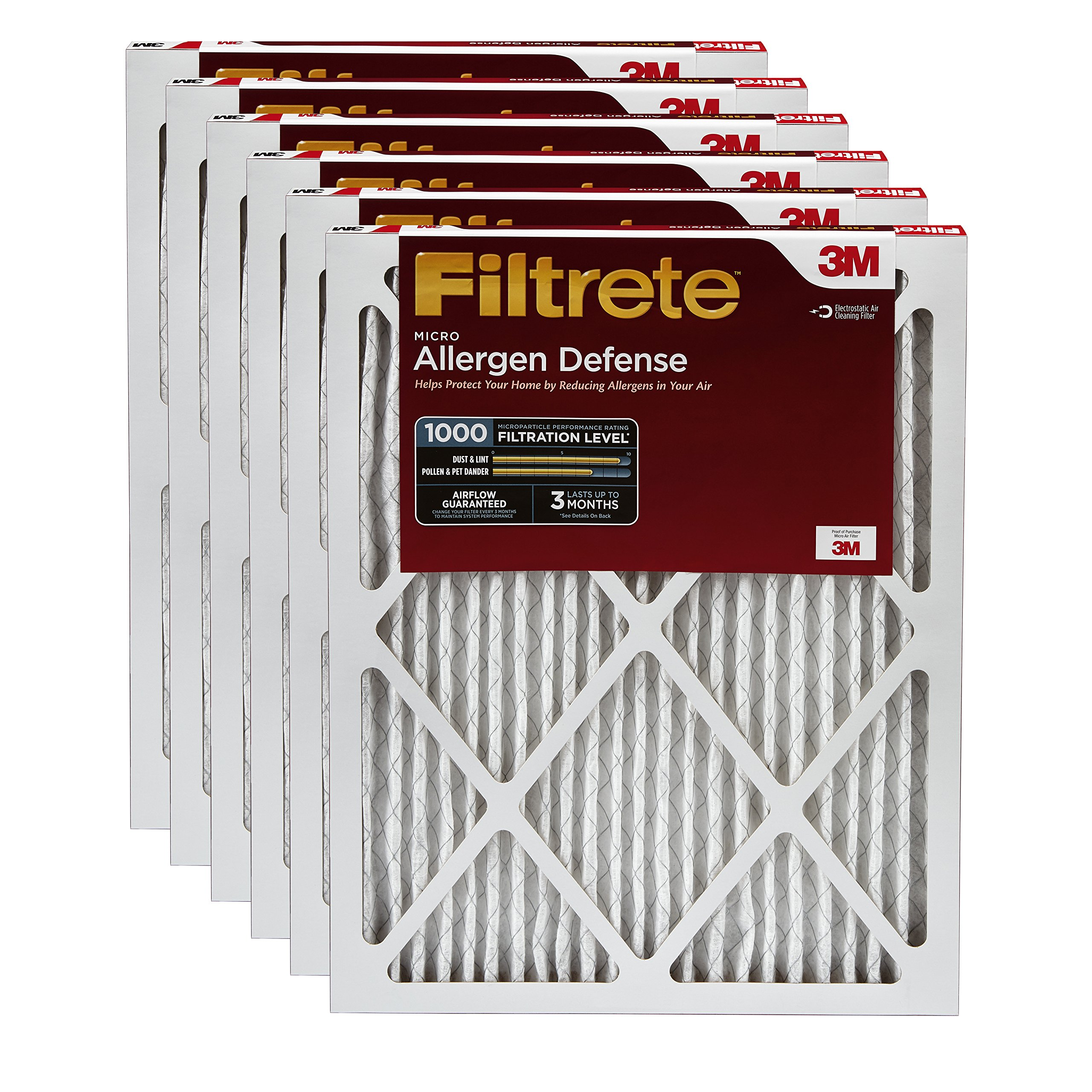Filtrete MPR 1000 14 x 14 x 1 Micro Allergen Defense AC Furnace Air Filter, Captures Small Particles like Pollen & Pet Dander, 6-Pack