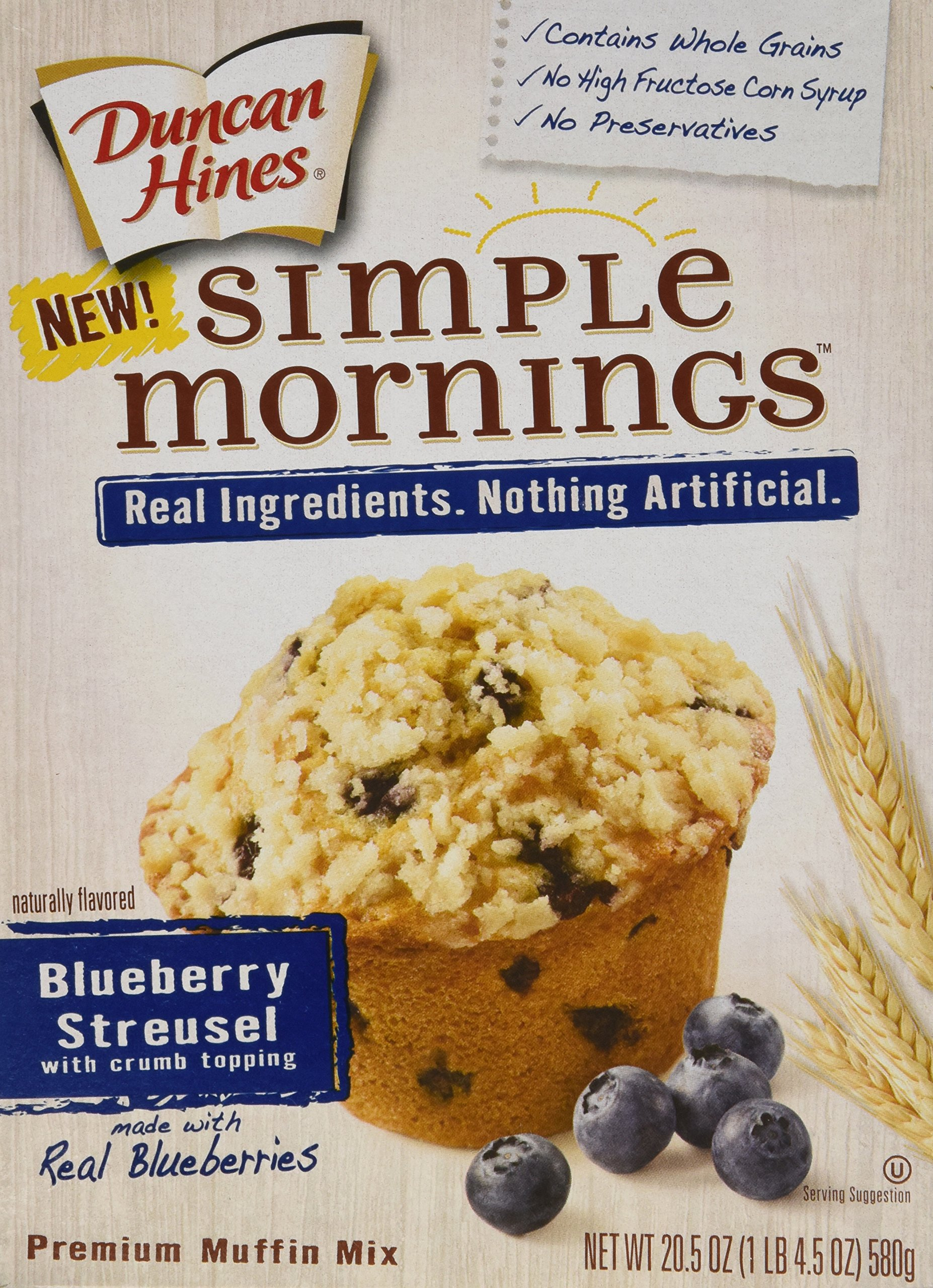Duncan Hines Simple Mornings Muffin Mix - Blueberry Streusel - 20.5 oz - 2 Pack