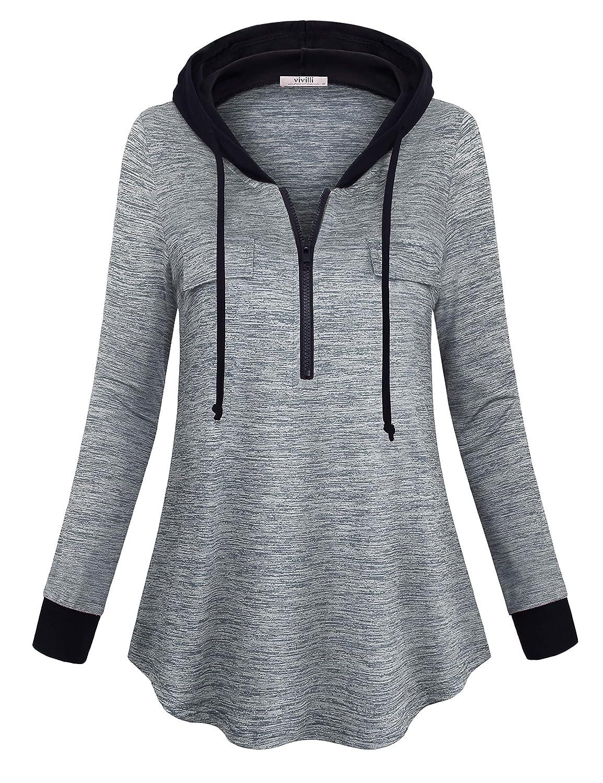 Vivilli Women's Half Zip Hoodie Outdoor Sweatshirt Lightweight Active Jacket Pullover