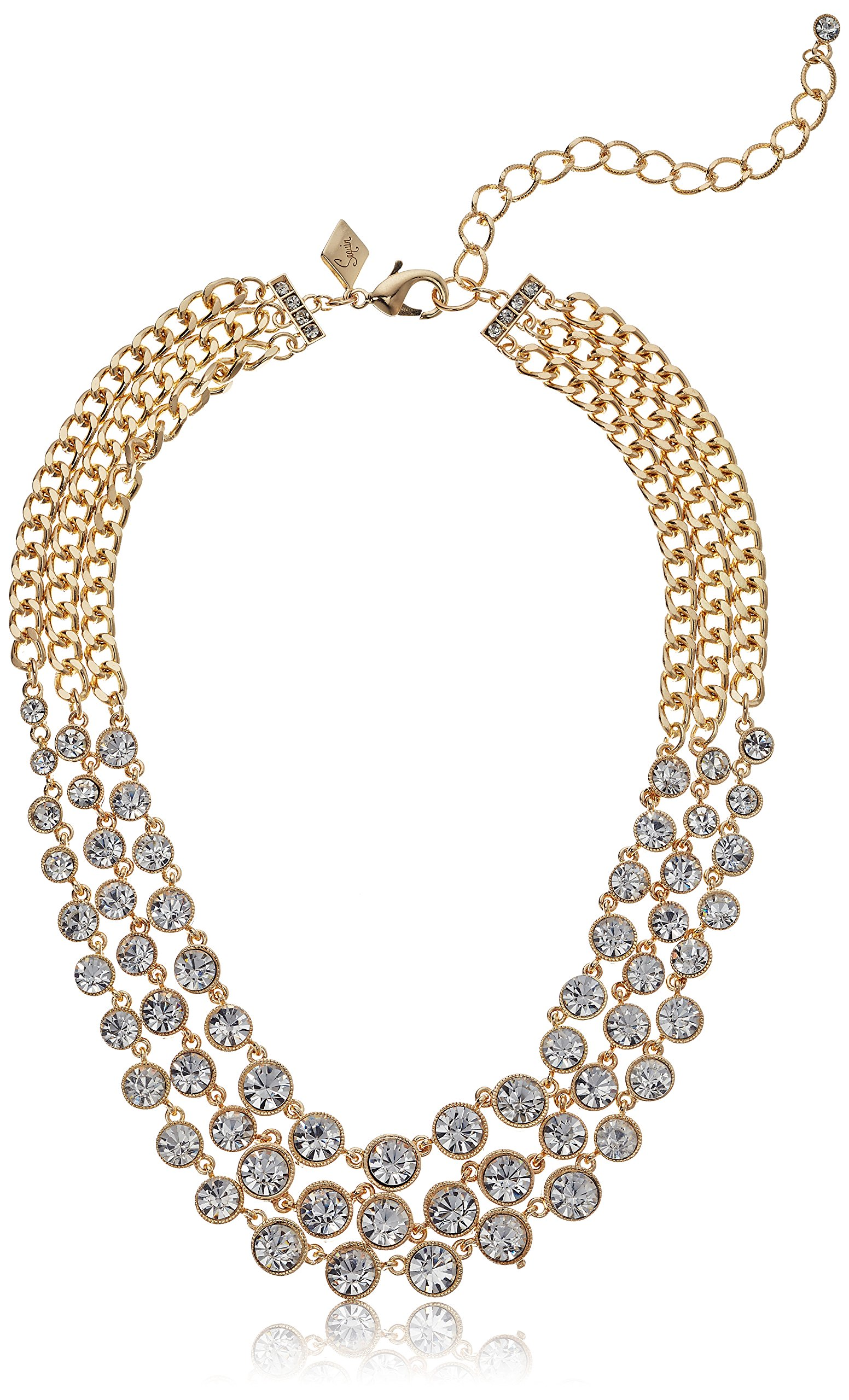 Sequin Womens Clear Crystal Strand Necklace, Clear Gold, Adjustable