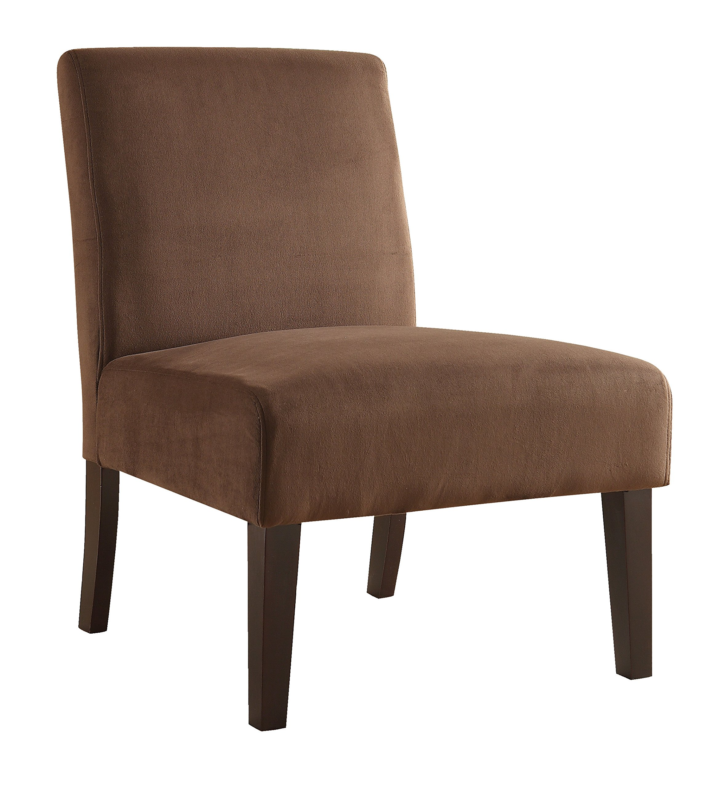 AVE SIX Laguna Accent Chair with Espresso Finish Solid Wood Legs, Chocolate Velvet Fabric
