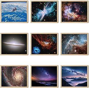 Livin Harmony Outer Space NASA Poster Art Prints Set of 9 | Solar System Posters for Bedroom, Livingroom, Bathroom Decor | Epic Cosmic Posters for Kids, Boys, Guys, or Girls Room (20x16 Unframed)