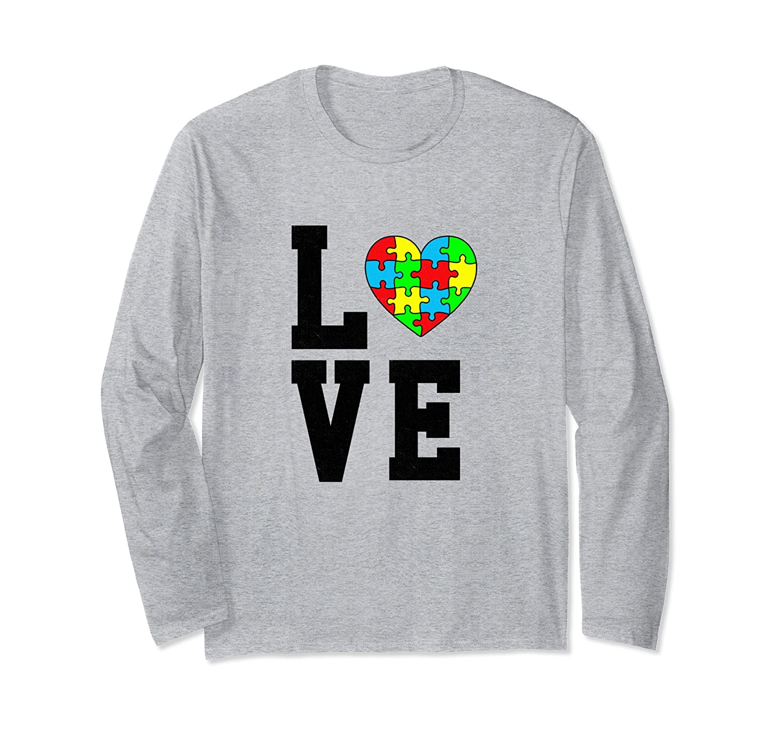 Autism Awareness Shirt Heart Love Autism Support Long Sleeve-anz