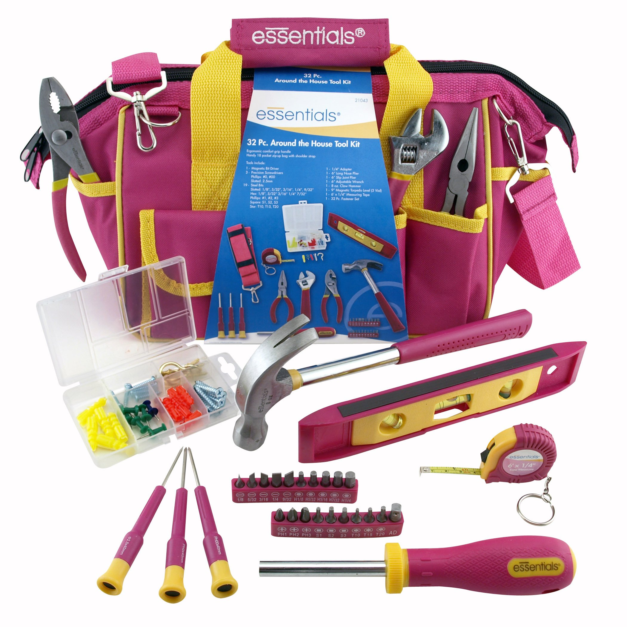 GreatNeck 21043 32-Piece Essentials Around the House Tool Set in Pink Bag