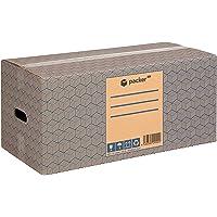 Pack 12 Cajas Carton para Mudanzas y Almacenaje 600x370x275mm Ultra Resistentes con Asas, 100% ECO Box   Packer PRO