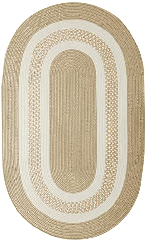 Crescent Oval Area Rug, 4 by 6-Feet, Linen