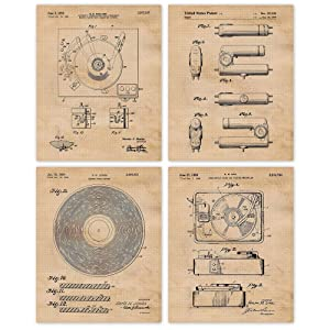 Vintage Vinyl Record Player Patent Poster Prints, Set of 4 (8x10) Unframed Photos, Wall Art Decor Gifts Under 20 for Home, Office, Studio, Garage, Man Cave, College Student, Teacher, DJ, Music Fan