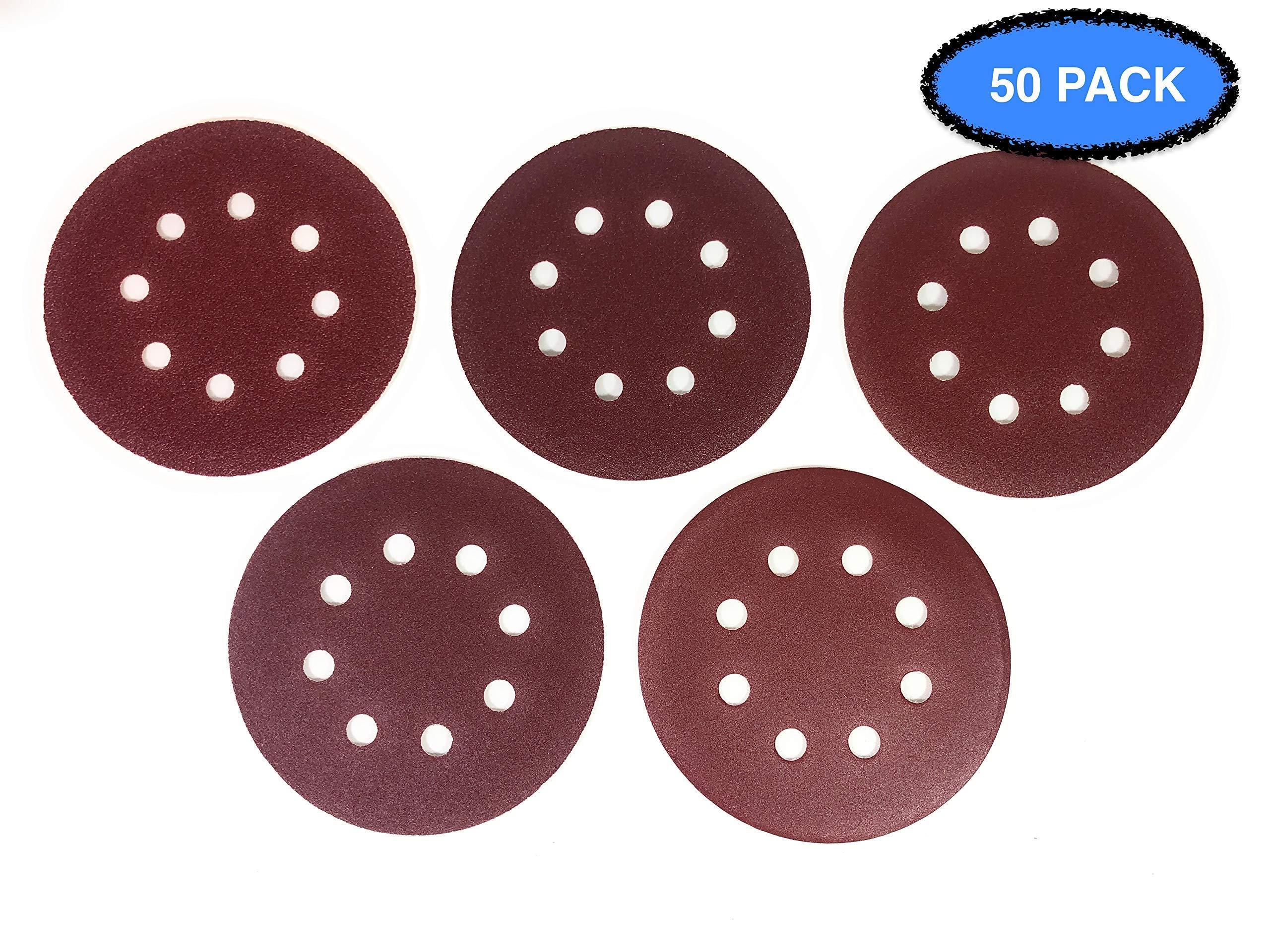 5 Inch 8 Hole Aluminum Oxide Premium Sanding Discs by Hitek 50PCS Assorted #60/120/150/220/320 Grits for Random Orbit Sanders