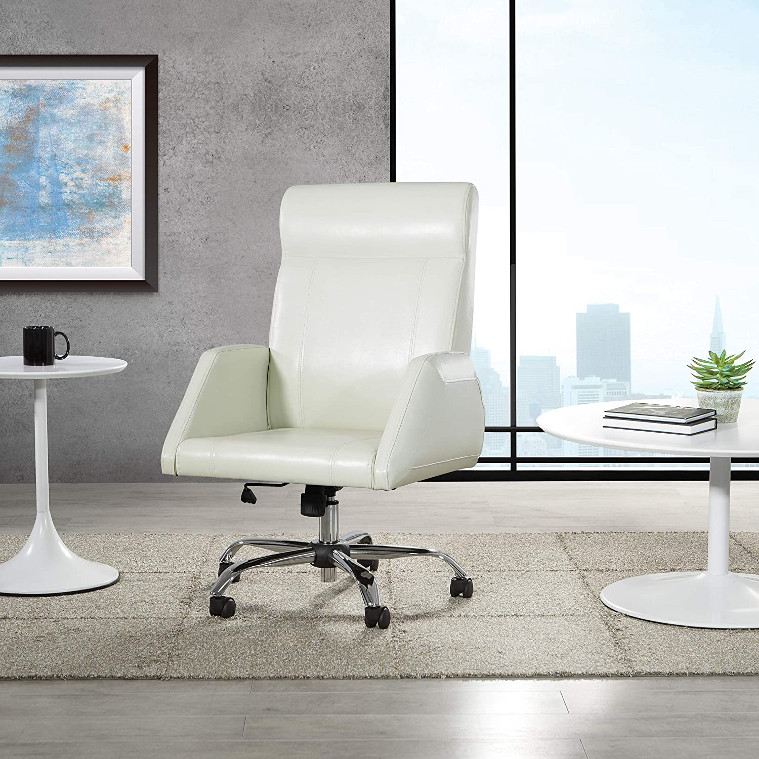 Osp Home Furnishings Rochester Executive Office Chair Cream Furniture Decor