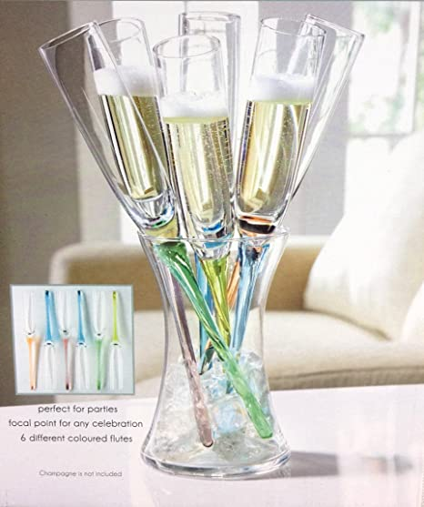 6 X Champagne Flutes Glasses With Coloured Stems And Flute Holder