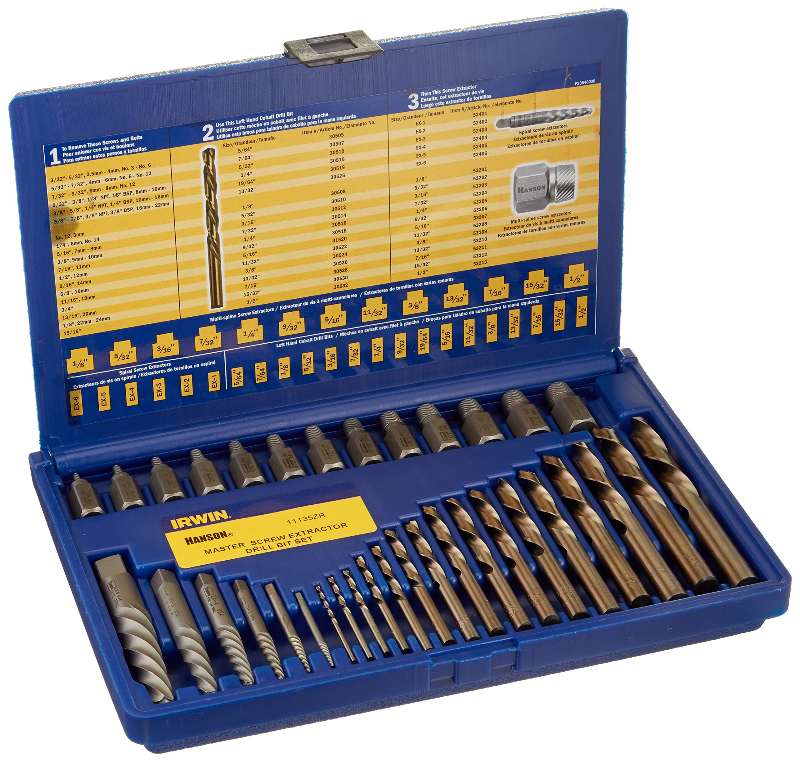 IRWIN HANSON Screw Extractor and Drill Bit Set, 35 Piece, 11135ZR by Irwin Tools