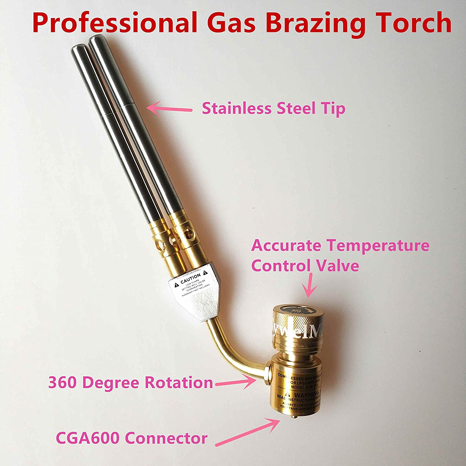 Tywel-2 Professional MAPP Gas Torch Brazing Torch of MAPP//Propane Gas 1.5m Hose for Brazing Soldering Welding Heating Application can also be used for BBQ HVAC Plumbing /…
