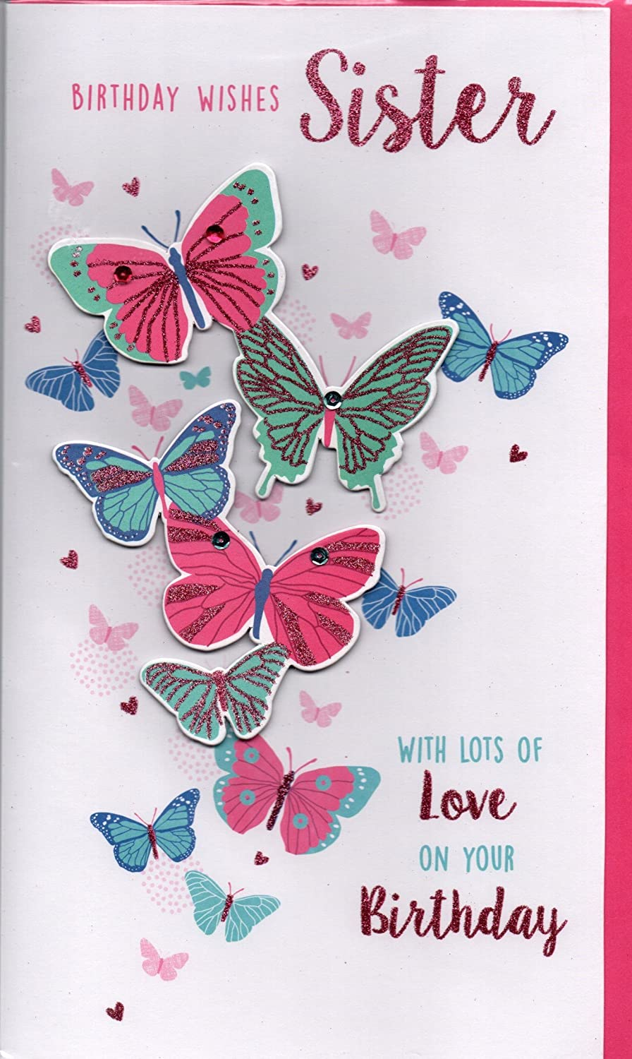 Sister Birthday Card Birthday Wishes Sister With Lots Of Love At Alexander S Amazon Co Uk Garden Outdoors