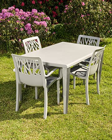 Amazon.de: Grosfillex Vegetal & Tabelle 4 Stühle Gartenmöbel-Set, grau