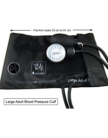 EMI Aneroid Sphygmomanometer Manual Blood Pressure Cuff - Plus Carrying Case (Large Adult - Black