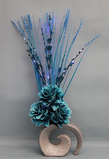 Simply Gift Solutions Ltd Artificial Silk Teal Flowers Led Battery