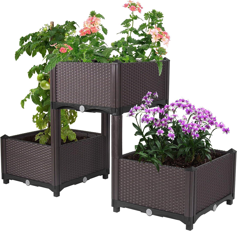 D'vine Dev Planter Raised Beds - Elevated Planter Garden Box with Drainage Plug Raised Garden Beds for Vegetable/Flower/Herb Outdoor Standing Planter Beds Gardening Kit