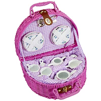 Delton Products Dollies Tea Set in Basket, Purple/Violet: Toys & Games
