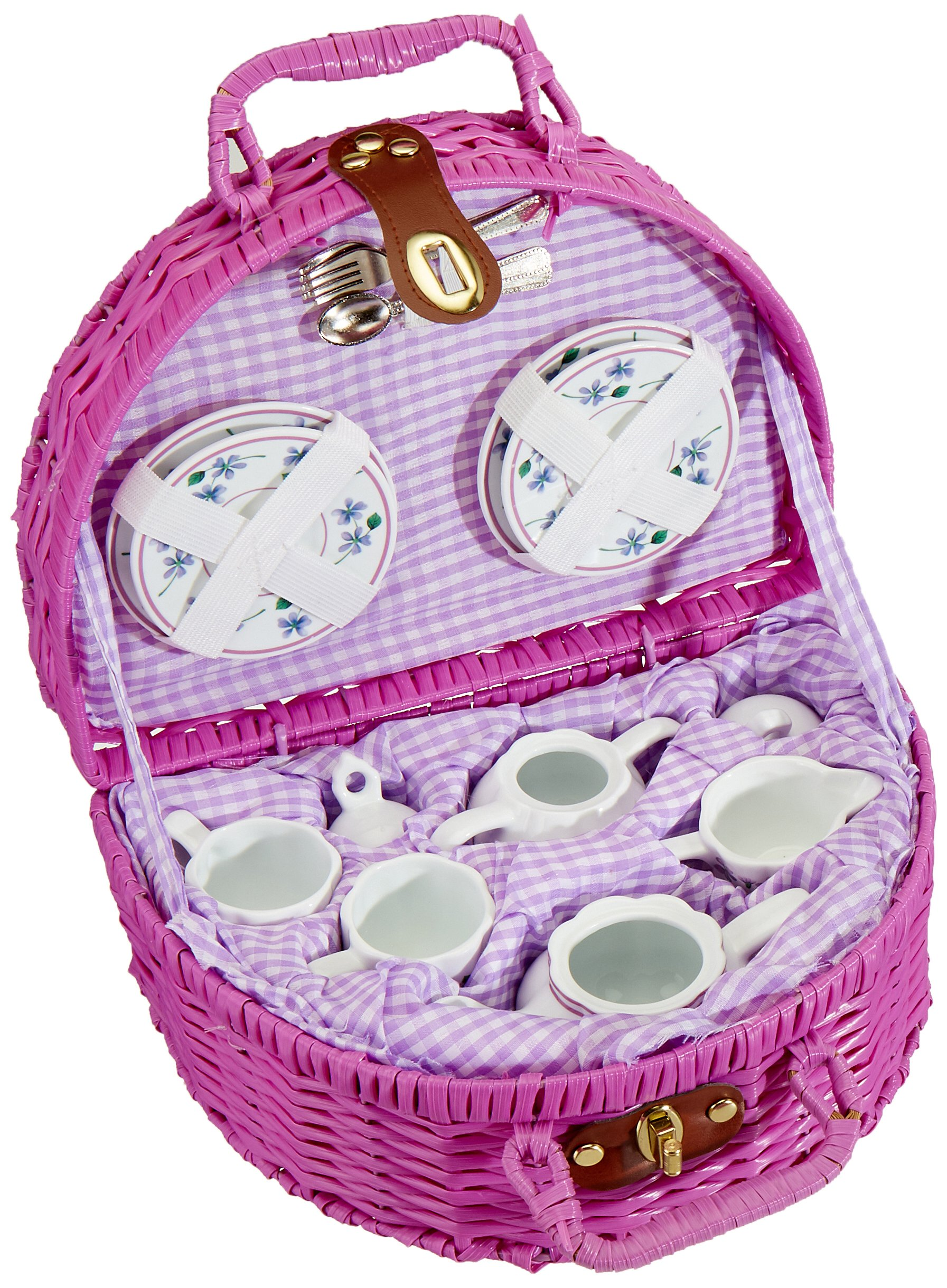 Delton Products Dollies Tea Set in Basket, Purple/Violet