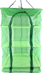 15.7inch Green 3 Layer Non-Toxic Nylon Netting Collapsible Mesh Hanging Drying Dry Rack Net Food Dehydrator Receive Storage Carrying Bag(4040cm/15.715.7inch) (Green-40cm, Green)