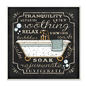 Stupell Home Décor Tranquility Tub Icon Textual Bathroom Art Wall Plaque, 12 x 0.5 x 12, Proudly Made in USA
