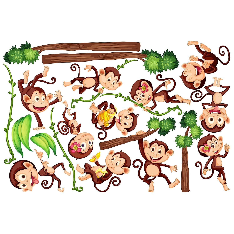 Bilderwelten Fenstersticker Fensterfolie Fensterbild Affen des Dschungels HxB  80 x 120cm B07DPQ8XS4 Fensterbilder