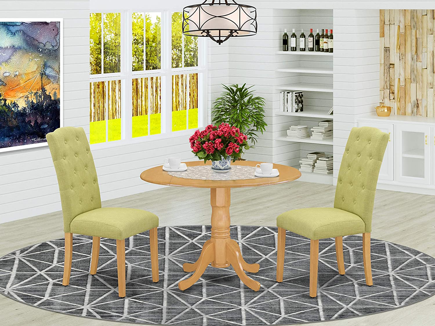 East West Furniture Kitchen Set 3 Pc - Lime Green Linen Fabric Button-tufted Kitchen Parson Chairs - Oak Finish Hardwood drop leaves Pedestal Dining Table and Structure