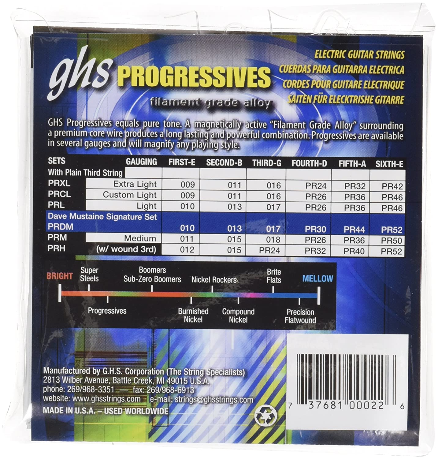 Amazon.com: GHS Strings Progressives Set Electric Guitar Strings ...