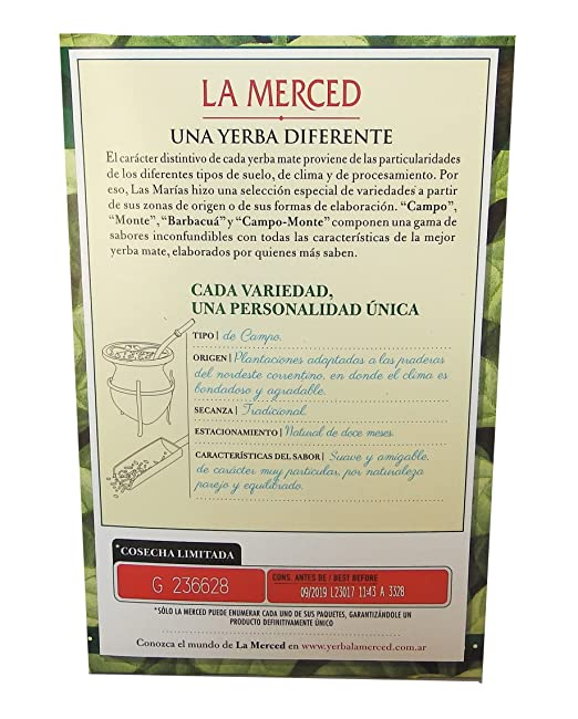 Amazon.com : La Merced De Campo Yerba Mate 500 g (1.1 lbs) 6 Pack : Grocery & Gourmet Food