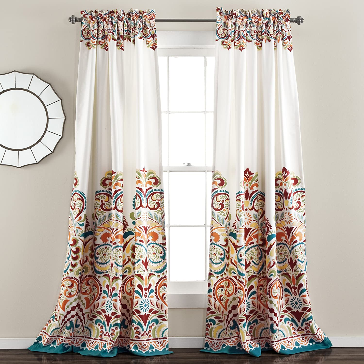 "Lush Decor Clara Curtains Paisley Damask Print Bohemian Style Room Darkening Window Panel Set for Living, Dining, Bedroom (Pair), 84"" x 52"", Turquiose & Tangerine"