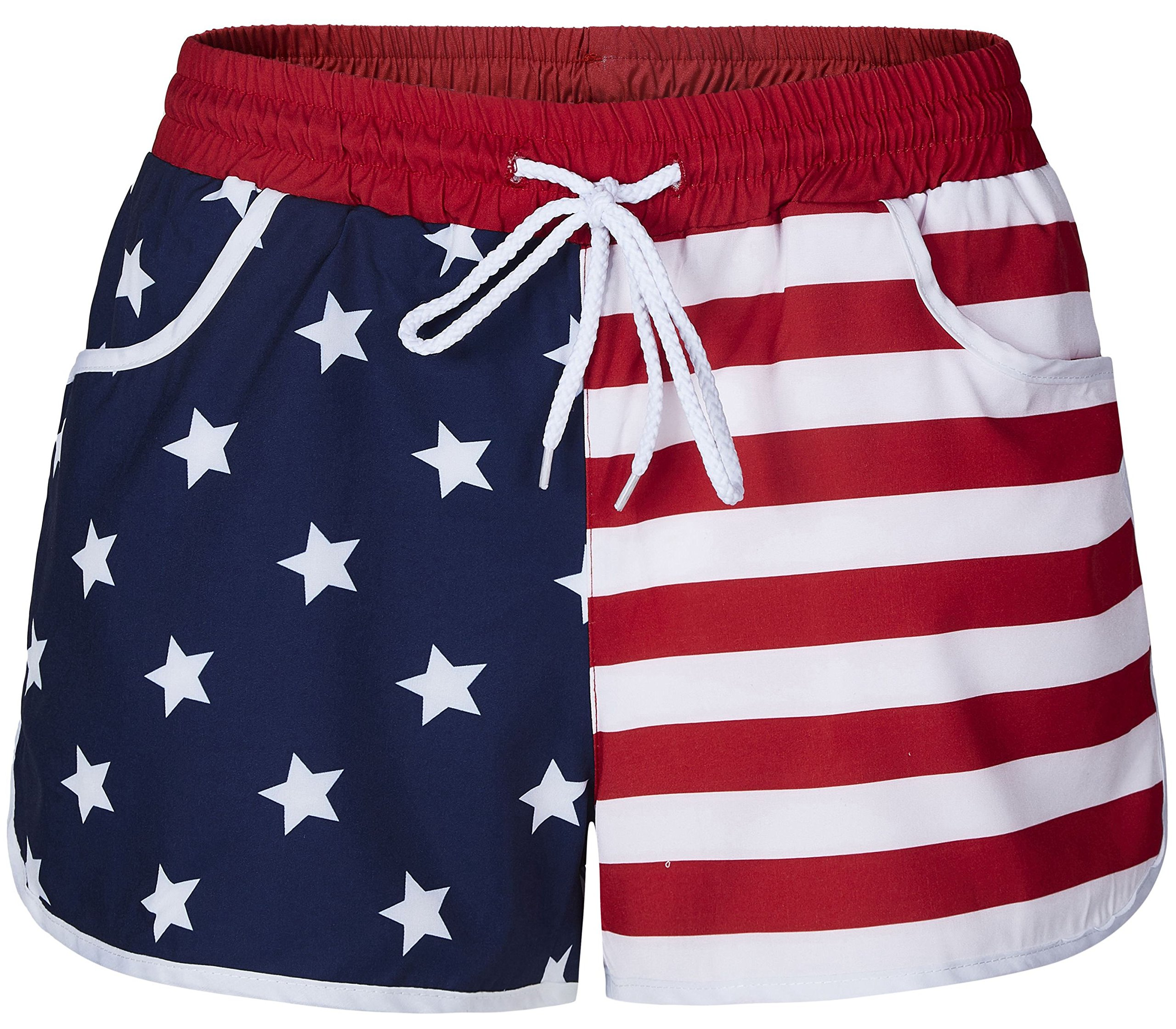 Womens American Flag Printed Shorts Surfing Swimming Quick Drying Beach Shorts