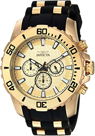 Invicta Mens Pro Diver Quartz Stainless Steel and Silicone Casual Watch, Color: