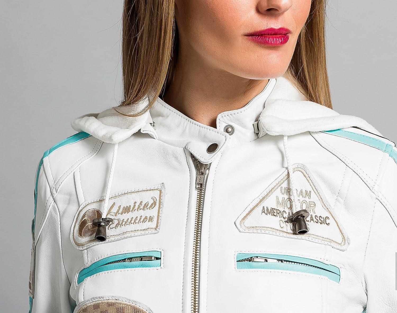 Urban Leather 58 Veste de Moto pour Femmes avec Protections marron-5XL