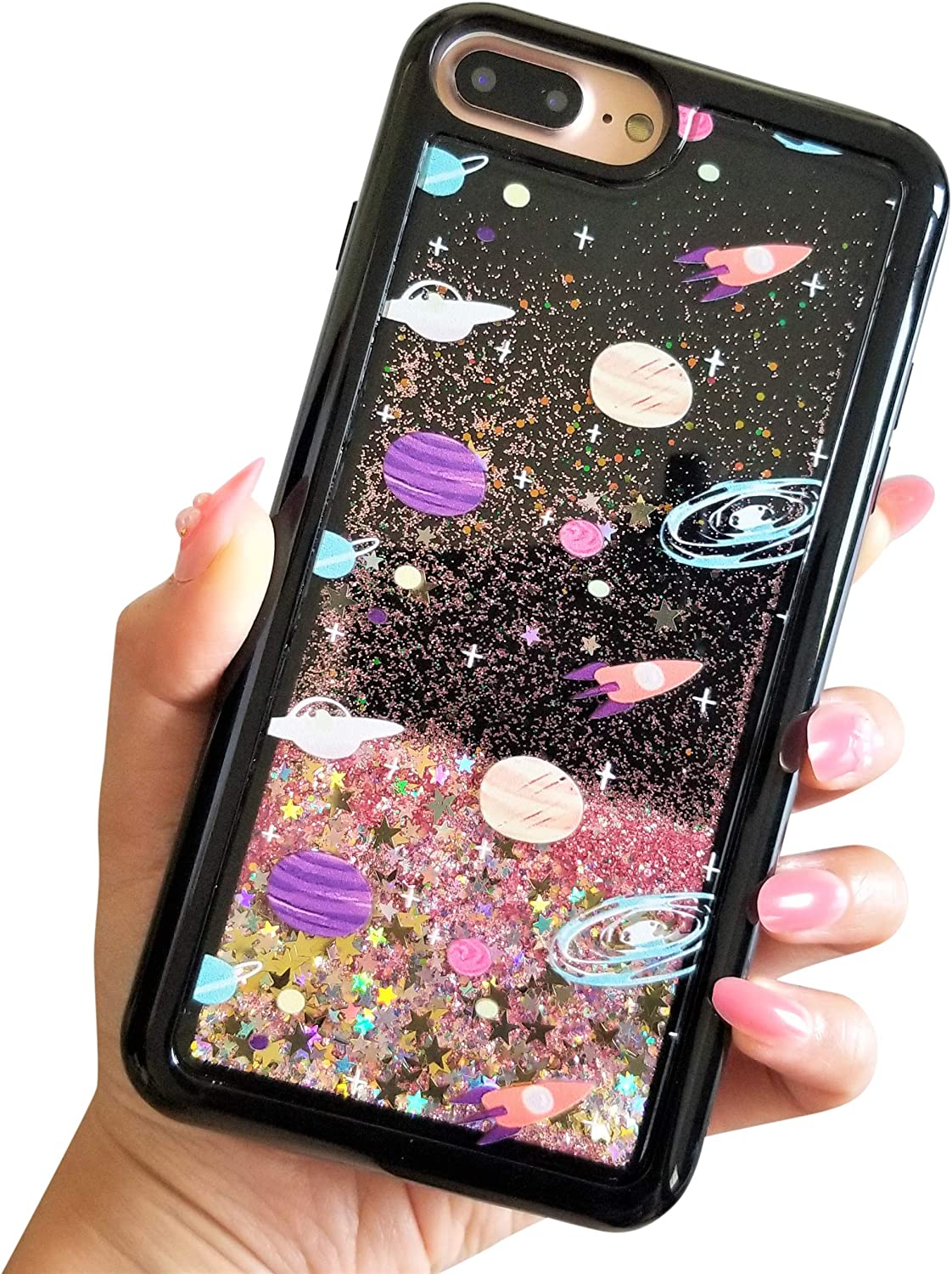"for iPhone 7 Plus 5.5"" for iPhone 8 Plus 5.5"" Cute Black Floating Moon Stars Outer Space Liquid Waterfall Bling Glitter Soft Case (Black)"