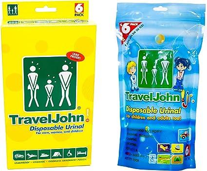 TravelJohn Travel John Disposable Resealable Urinal Urine Wee Bags Unisex 3 Pack
