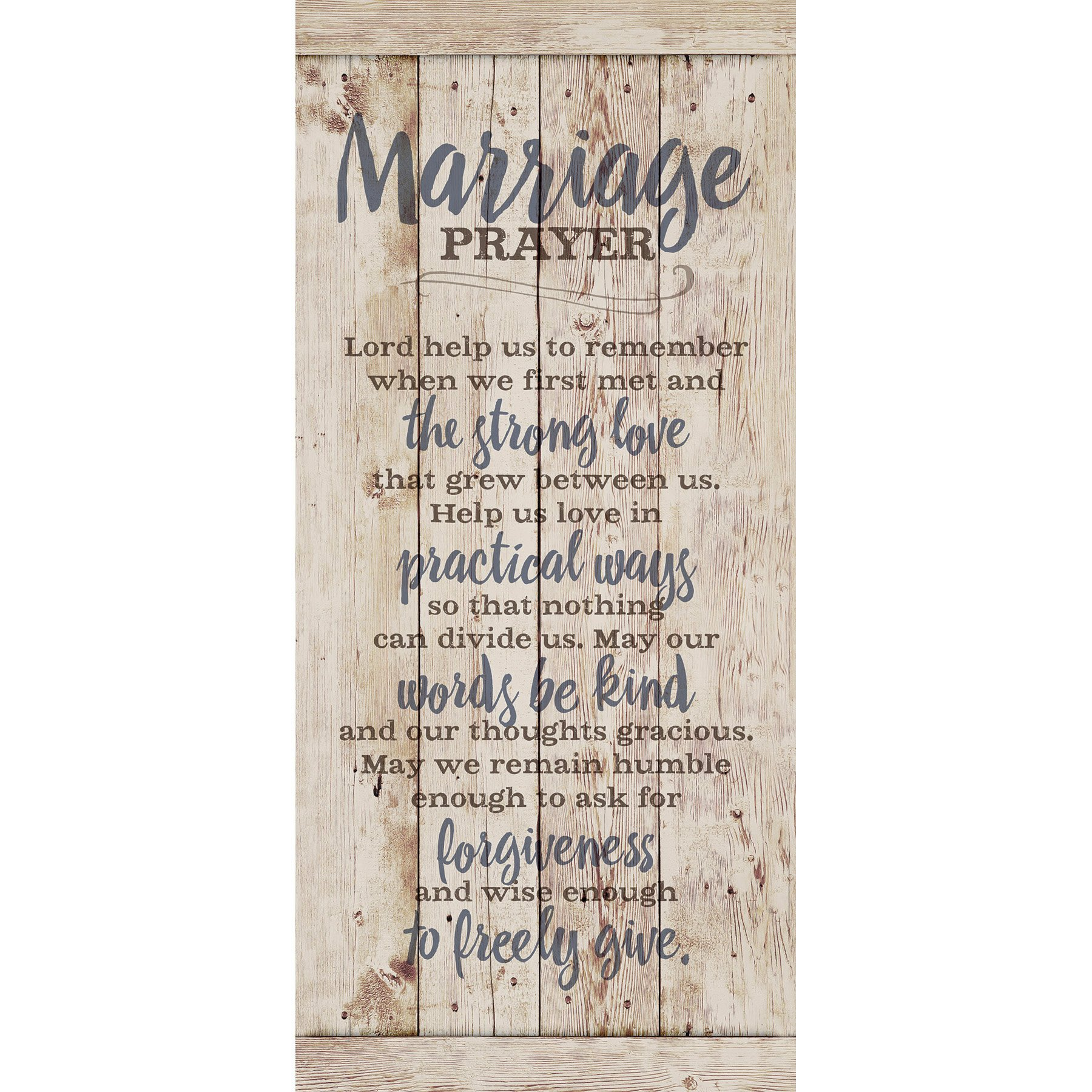 Marriage Prayer Wood Plaque Inspiring Quote 5.5x12 - Classy Vertical Frame Wall Hanging Decoration | Lord, Help us to Remember When we First met | Christian Family Religious Home Decor Saying by Dexsa