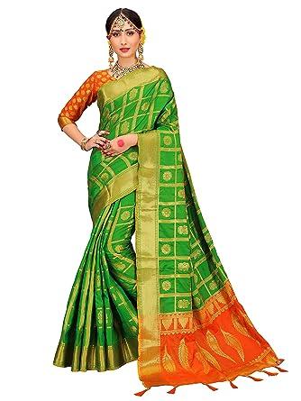 c9aac6895 Amazon.com: ELINA FASHION Sarees for Women Patola Silk Woven Work Saree,  Indian Sari (Green: Clothing