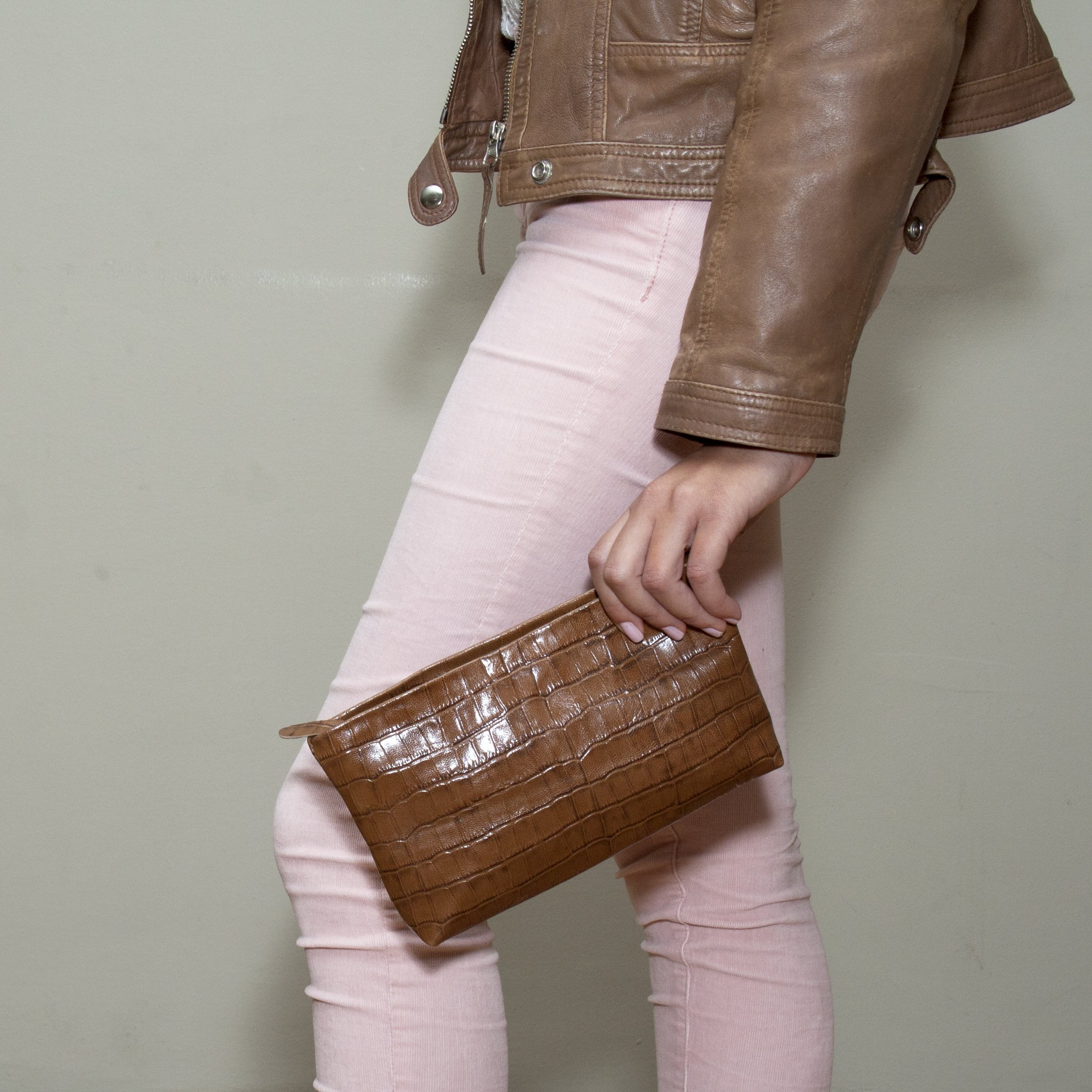 Embossed Brown Leather Pouch Makeup case Small leather cosmetic bag women zippered wallet purse croc