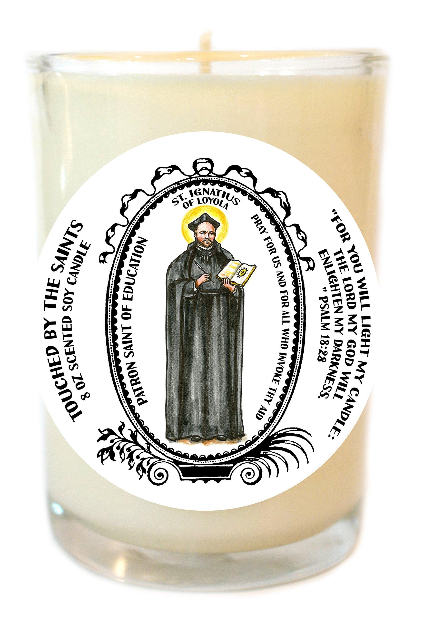 Saint Ignatius of Loyola Patron of Education 8 Oz Scented Soy Prayer Candle