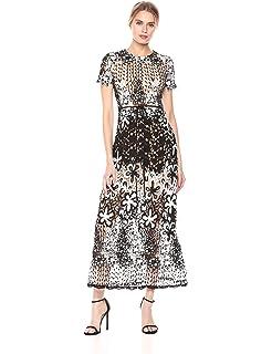 f98d6fd71b91 ML Monique Lhuillier Women's Mixed Lace Midi Cocktail Dress, Black/White 4