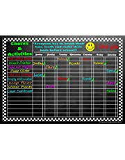 "Versatile Magnetic Refrigerator Chalkboard Dry Erase CHORE / RESPONSIBILITY / ACTIVITY / REWARD STAR CHART 12"" X 17"""