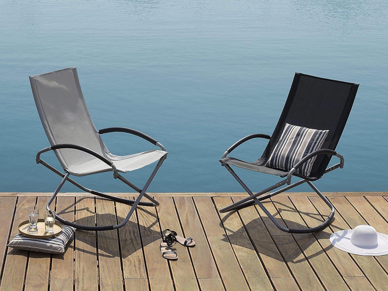 Beliani Gartenstuhl schwarz Textilene klappbar Casto