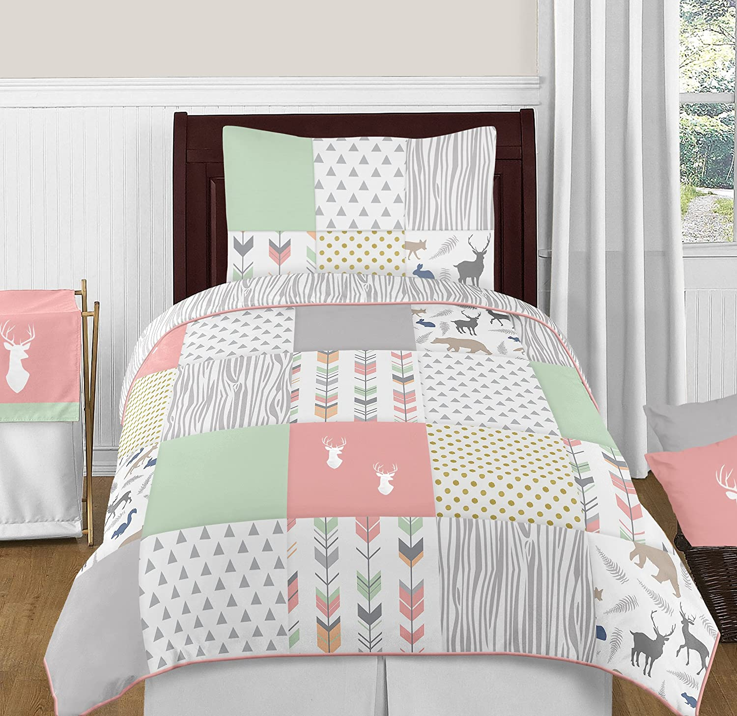 Amazon Com Coral Mint And Grey Woodsy Deer Girls 4 Piece Kids
