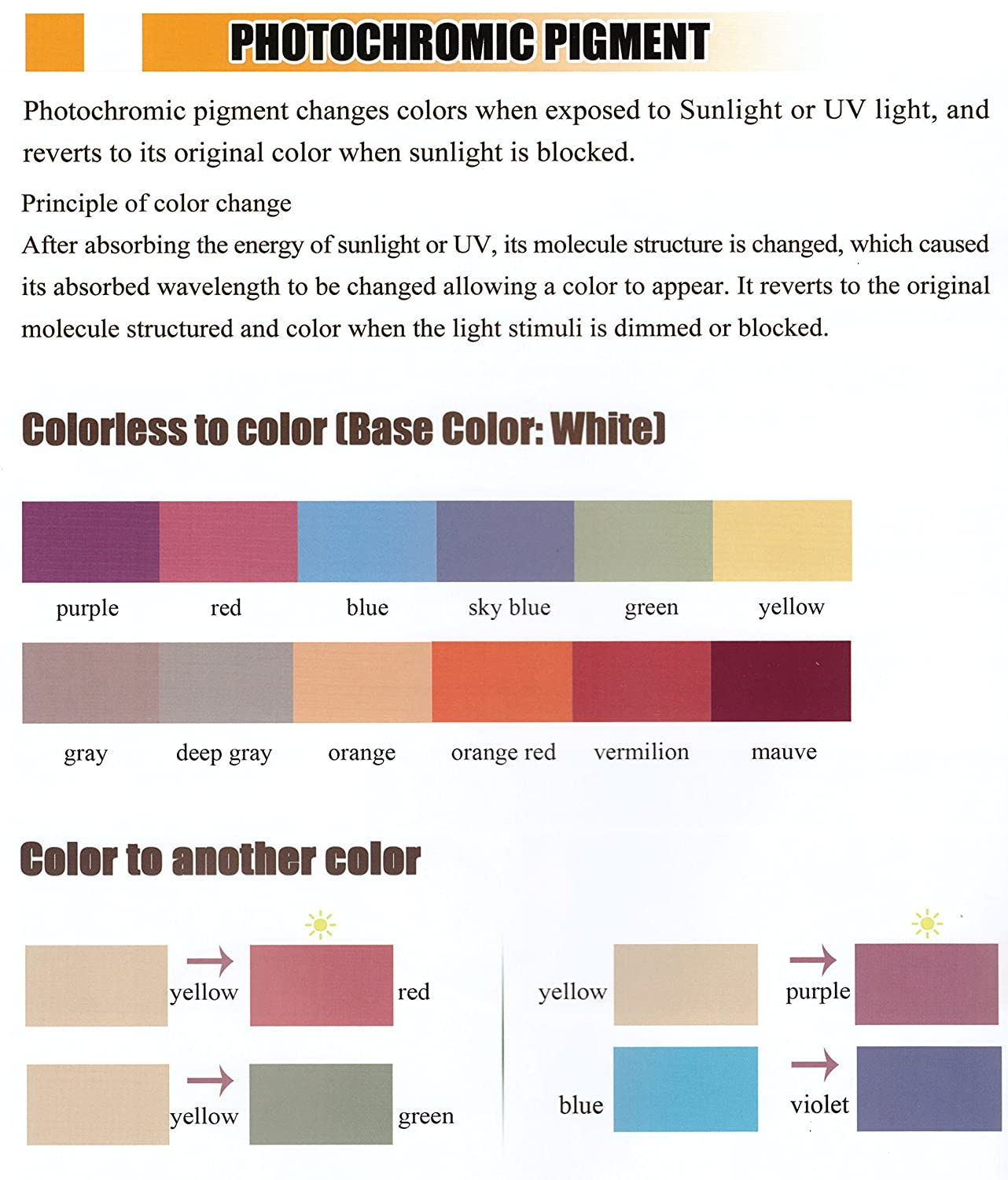 amazon com photochromic pigment that changes colors when exposed to