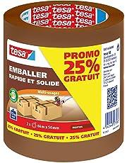 tesa 58214 - Lot de 2 Rouleaux d'emballage Promo 25% Gratuit - Marron- 66m:50mm