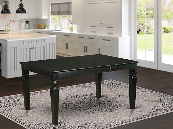 Weston Rectangular Dining Table with 18 in butterfly Leaf in Black