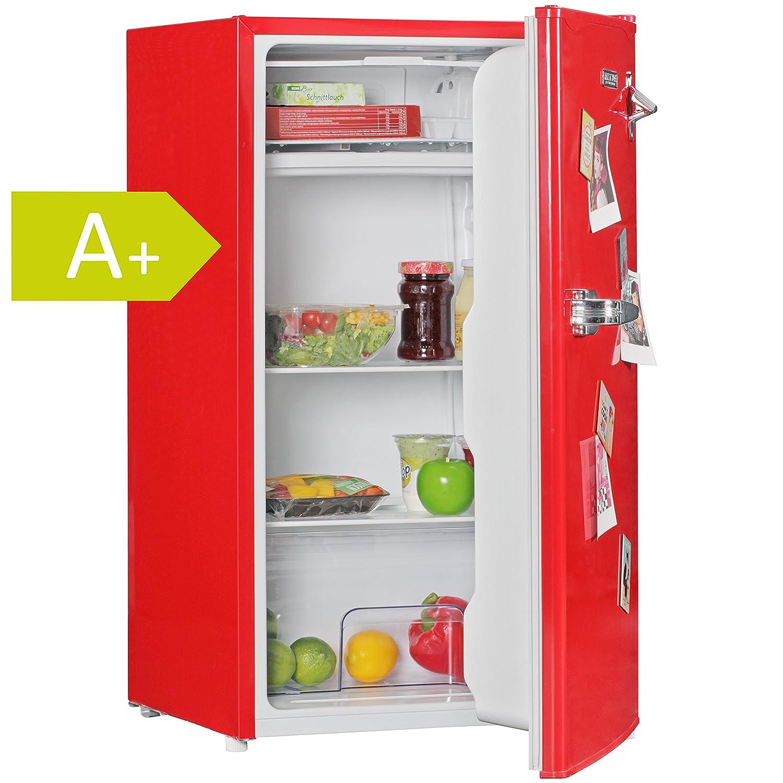 AMSTYLE Design Retro Minikühlschrank 95L rot A+ mit Gefrierfach ...