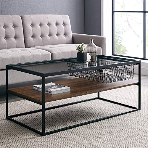 Walker Edison Mesh Drawer Glass Top Coffee Table
