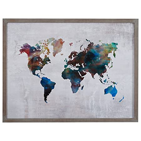 Rivet Multi-Colored World Map Print Wall Art in Gray Wood Frame, 40.5 x 30.5